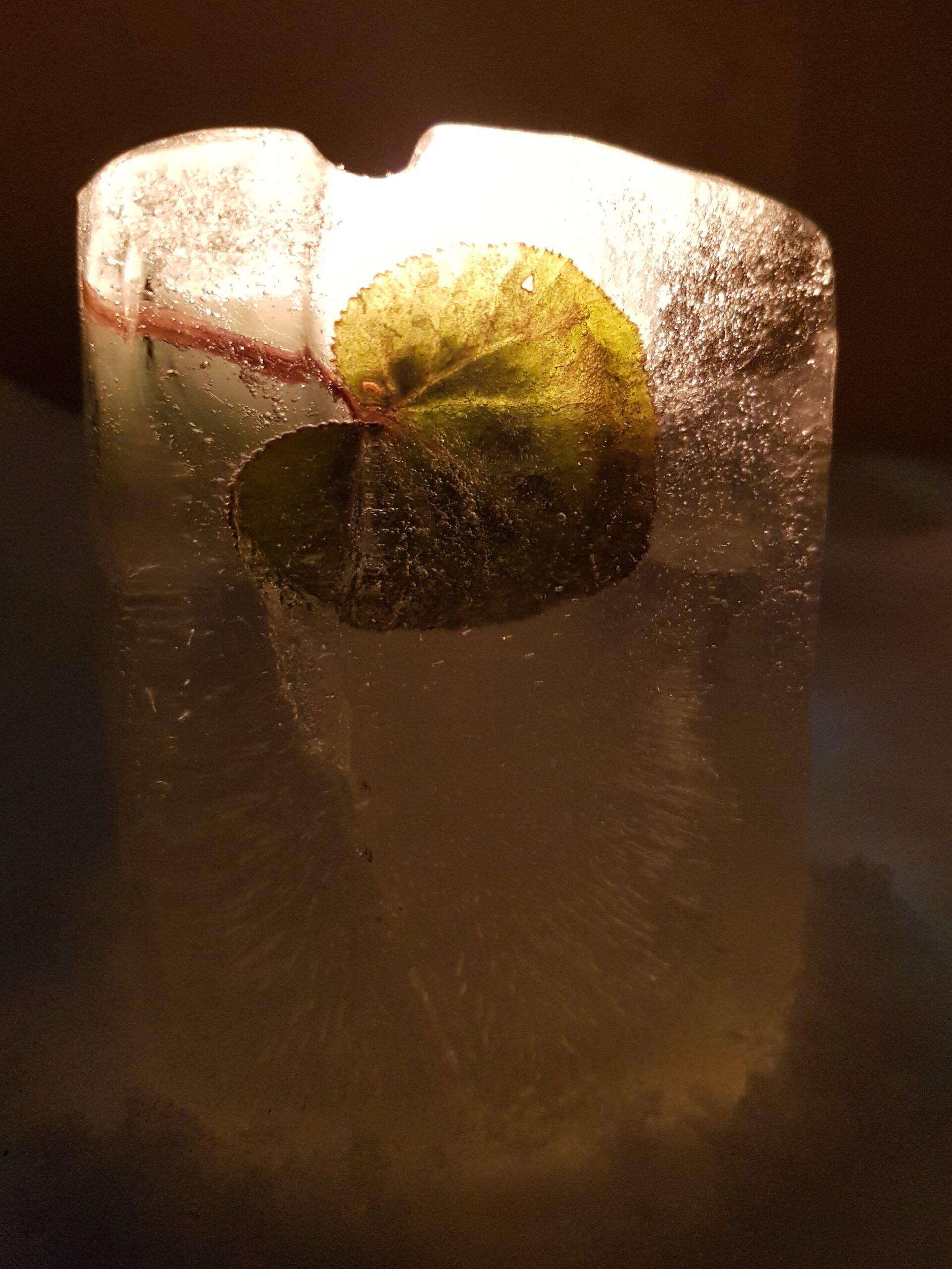 Laterne aus Eis