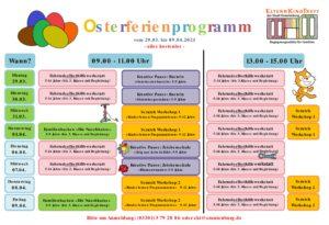 Osterferienprogramm im EKT (mit Fahrradwerkstatt, Backen, Basteln, Malen, Programmieren)