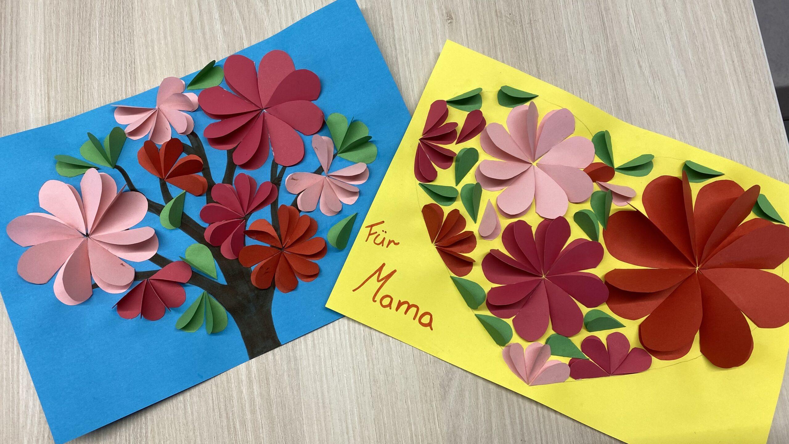 Muttertagskarte mit 3D-Blumen